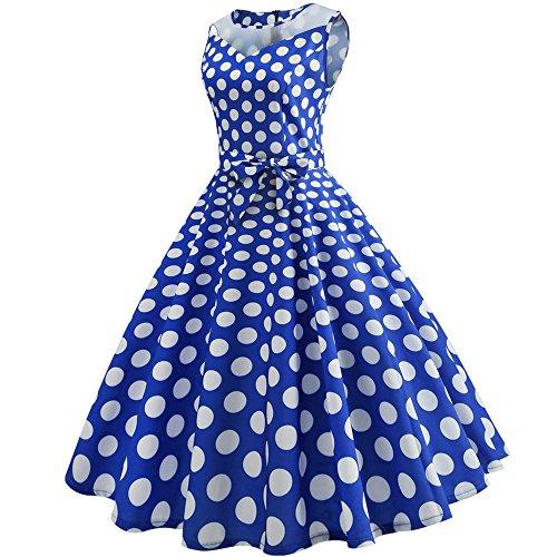 Point De Couleur Birdfly Femmes D'été Variété Pur Style Vintage Imprimé Hepburn Voir Par Robe Jupe Avec Ceinture Taille Plus Bleu 2 Litres (91)