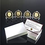 Donald Trump 4 Gold Coin Set, 1st Term Presidential Collector's Edition, Gold Plated Replica Coins 2017-2018 - 2019-2020, Clear Display Stands, Cert. of Authenticity