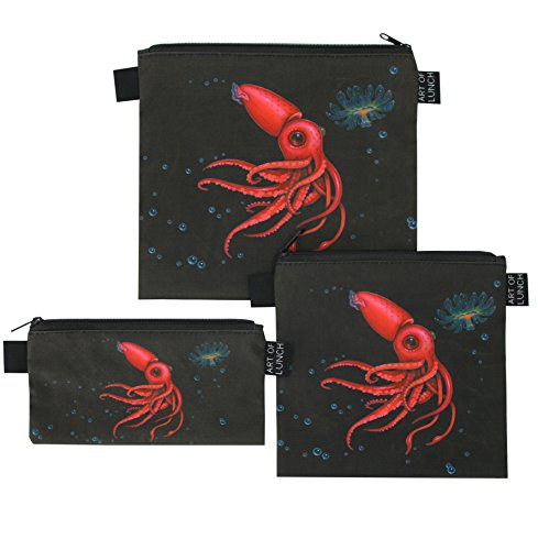 Reusable Sandwich & Snack Baggies by ART OF LUNCH - Set of 3 Designer Sandwich Bags - Design by Caia Koopman (USA) - $1 of every sale goes to support the Umijoo Project - Strawberry Squid