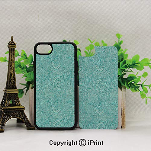 - iPhone 8 Case,iPhone 7 Case,Vintage-Botanic-Nature-Leaves-Veins-Swirls-Ivy-Mosaic-Inspired-Image-Print-Decorative,Lining Hard Shell Shockproof Full-Body Protective Case Cover