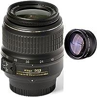 Nikon 18-55mm f/3.5-5.6G ED II Auto Focus-S DX (White Box) + High Definition Telephoto Auxiliary Lens