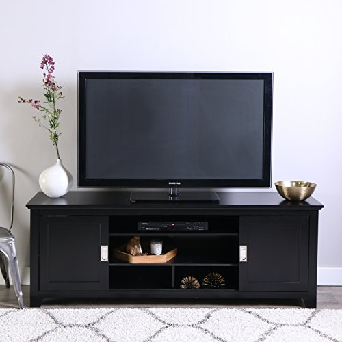 """WE Furniture 70"""" Wood TV Console with Sliding Doors, Black"""