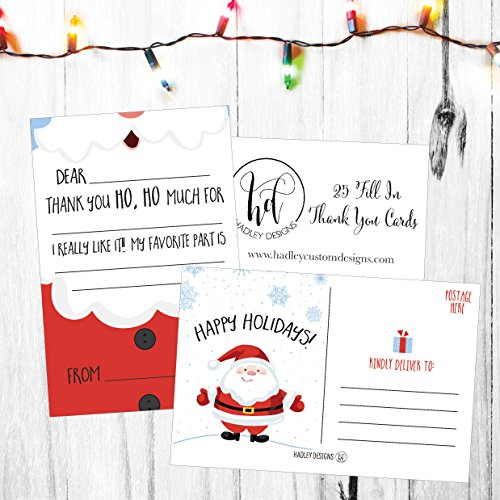 25 Christmas Holiday Kids Thank You Cards, Santa Fill In the Blank Thank You Notes, Personalized Card For Birthday Party or Christmas Gifts, Stationery For Children Boys and Girls Photo #5