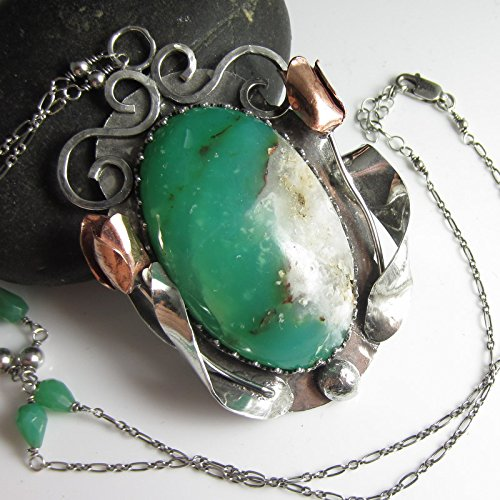 (New Green Necklace - Handcut Chrysoprase in Sterling Silver with Tulips)
