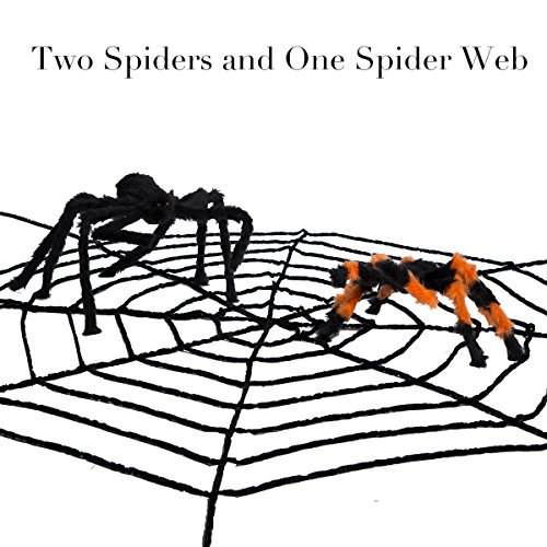 Halloween Spider Webs 10.5ft with Two Spiders Large Black and Colorful Spiders 2ft Spiderweb Halloween Decorations Scary Halloween Toys Cobwebs (Halloween Spider Webs Bulk)