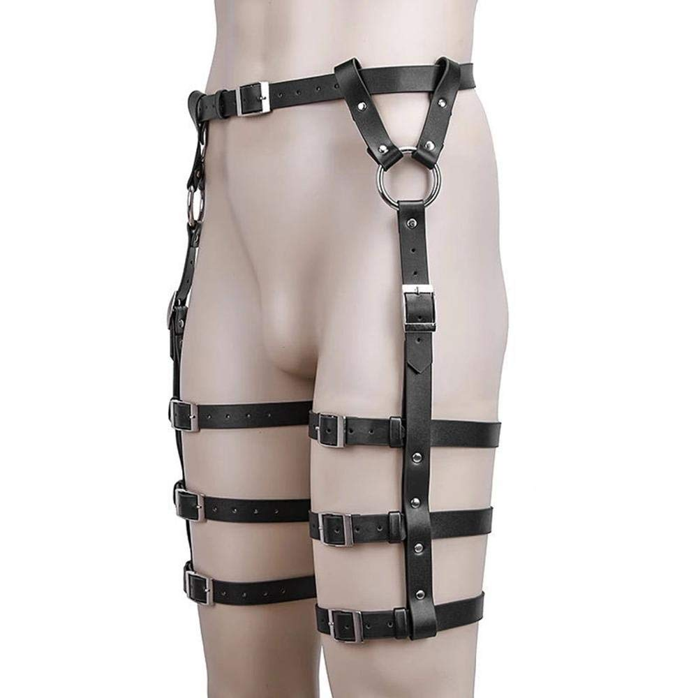 Craige Exclusive for Sexy Punk Leather Garter Adjustable Waist Leg Leggings Waist Belt 3pcs/Set