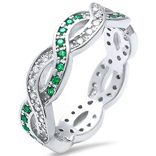 Blue Apple Co. Full Eternity Crisscross Infinity Band Ring Simulated Green Emerald Round CZ 925 Sterling Silver