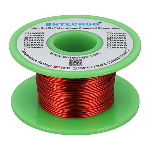 Magnetic Enamel (BNTECHGO 22 AWG Magnet Wire - Enameled Copper Wire - Enameled Magnet Winding Wire - 4 oz - 0.0256