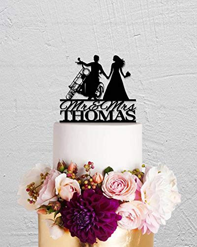 Motorcycle Cake Top - 659ParkerRob Motorcycle Wedding Cake Topper,Personalized Mr and Mrs Cake Topper,Wedding Cake Toppers Bride and Groom