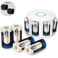 RCR123A Rechargeable Batteries Charger, Keenstone 8Pcs 3.7V 700mAh Li-ion Battery w/ 8-Ports Charger Camera Skin Arlo VMS3030/3230/3330/3430/3530 Security Cameras