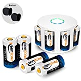 RCR123A Rechargeable Batteries and Charger, Keenstone 8Pcs 3.7V 700mAh Li-ion Battery w/8-Ports Charger and Camera Skin for Arlo VMS3030/3230/3330/3430/3530 Security Cameras