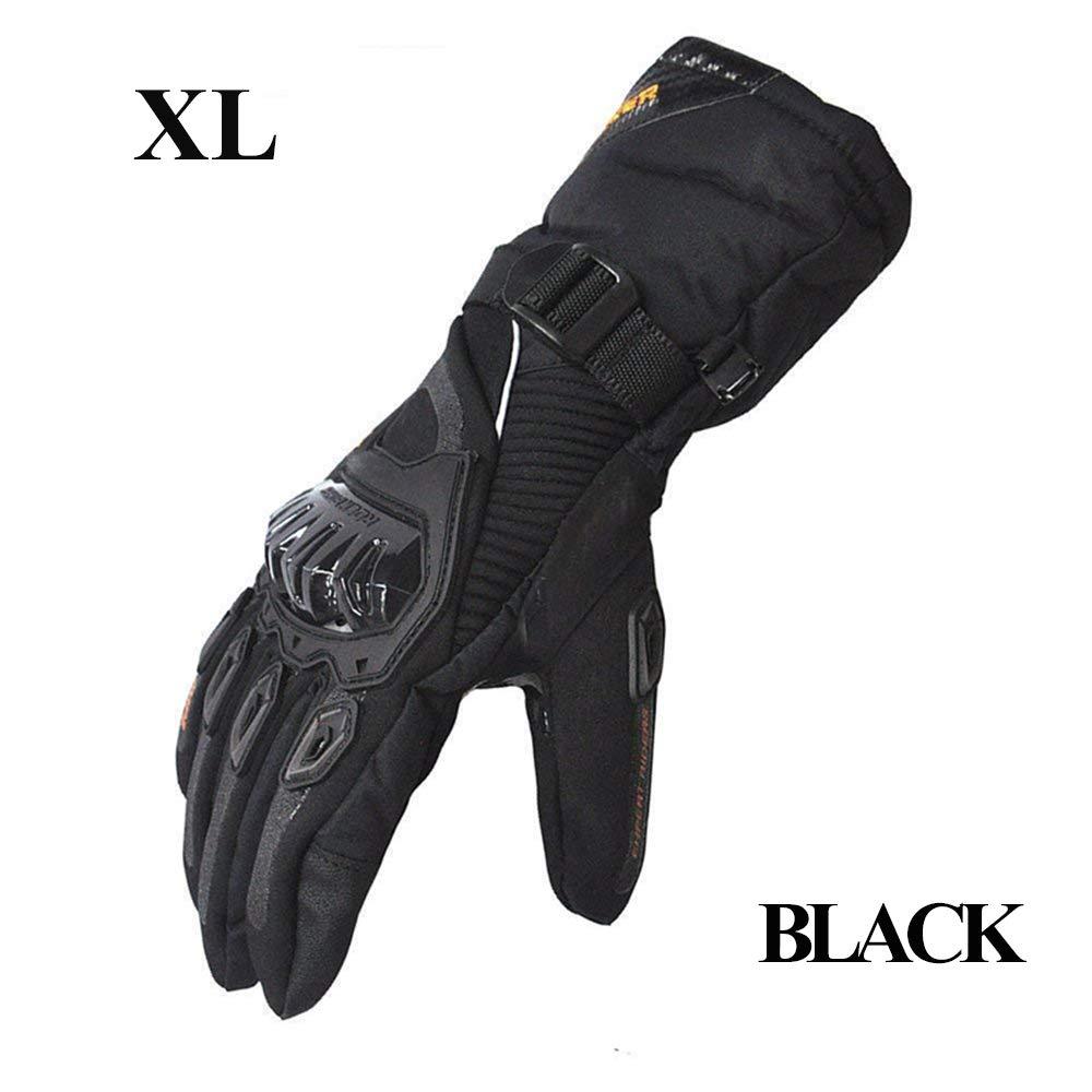 LucaSng Gants de Moto, Longs d'hiver pour Moto, froids, imperméables, antidérapants, Noir / Orange XL