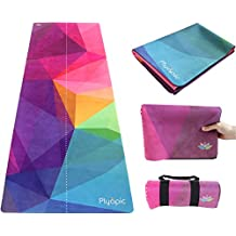 Plyopic Travel Yoga Mat | Lightweight Foldable 3-in-1 Mat/Towel. Luxury Sweat-Grip for Yoga, Pilates, Fitness and Exercise | Portable and Eco-Friendly