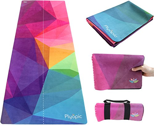Plyopic Travel Yoga Mat | Lightweight Foldable 3-in-1 Mat/Towel. Luxury Non-Slip for Yoga, Pilates, Fitness and Exercise | Portable and Eco-Friendly