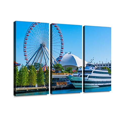 Chicago's Navy Pier Along The Chicago River,Ferris Wheel,(P) Canvas Wall Artwork Poster Modern Home Wall Unique Pattern Wall Decoration Stretched and Framed 3 Pieces Set 3 Piece (Best Chicago River Cruise Architecture)