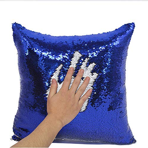 2 Pack Mermaid Sequin Pillow 16x16 inches Cover Pillow Case Flip Reversible Sequins Throw Cushion Case  (Blue)
