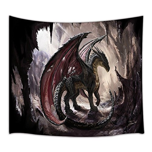 KOTOM Fantasy Decor Tapestry, Dragon in The Cave, Wall Art Hanging for Living Room Bedroom Dorm Decor 71X60Inches Wall Blankets