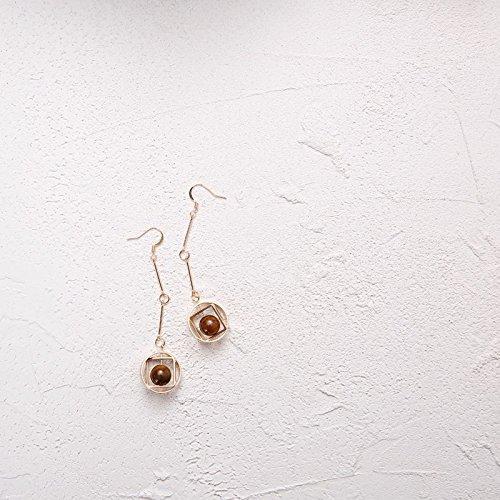 TKHNE original handmade natural bamboo tiger eye stone geometric earrings elegant retro ear clip - Geometric Tigers Necklace Eye
