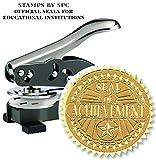 Embosser Bundle // Custom Embosser (Seal) & Premium Gold Foil Embossing Certificate Labels // ''Seal of Achievement''; Impression: 1-5/8 [SPC2CS] // Employee/Student Recognition At Work/School