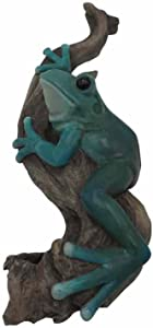"Comfy Hour 10"" Frog Climbing On Wood Statue Wall Plaque - for Indoor and Outdoor, Stone Resin Sculpture, Green & Brown"
