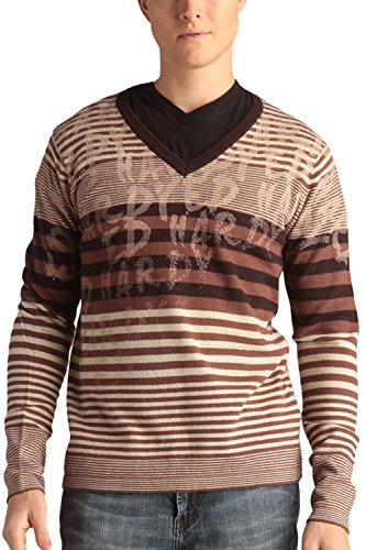 Ed Hardy Mens Stripped V-Neck Wool Blend Sweater With Signature Print - Sandshell - X-Large - Print Wool Blend
