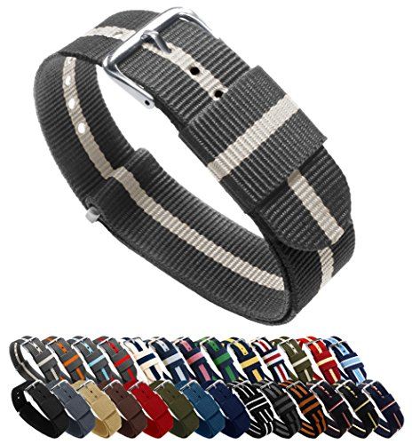 BARTON Watch Bands - Choice of Color, Length & Width (18mm, 20mm, 22mm or 24mm) - Smoke/Linen 22mm - Standard Length