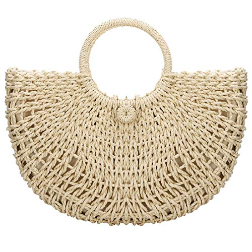 (Hand-woven Straw Large Hobo Bag for Women Round Handle Ring Toto Retro Summer Beach Straw Bag (Beige Zipper Closure))