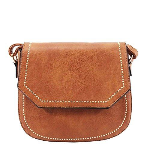 doré pour 'S sac cuir bandoulière haute pour décoration clous NEUF femme DIVA simili Rose Marron Small nSqxE8fI1w