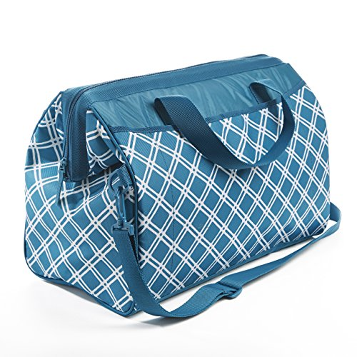 (Rachael Ray Large Capacity Wide-Mouth Cooler Bag for Shopping / Entertaining, Insulated Doctor Bag Style, Teal Bias Plaid)