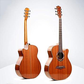 North King Guitarra de Madera Maciza Hecha de Sapele Folk Guitarra 40 Pulgadas Completo de Rosa de Madera Sapele Instrumento de Guitarra para Principiantes ...