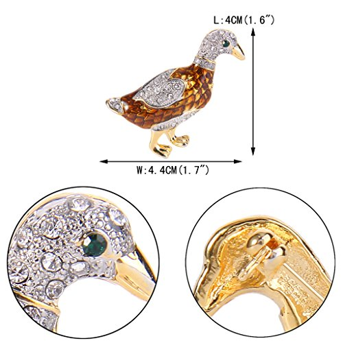 EVER FAITH® Femme Cristal Email Brun Canardeau Animal Broche Pin Clair Plaqué Or N08019-1