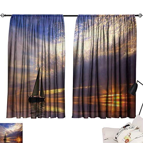 Tankcsard Blue Curtains Sailboat,Sailing with Sunset Sunbeams on The Horizon Romance Honeymoon Destination,Marigold Bluegrey 54