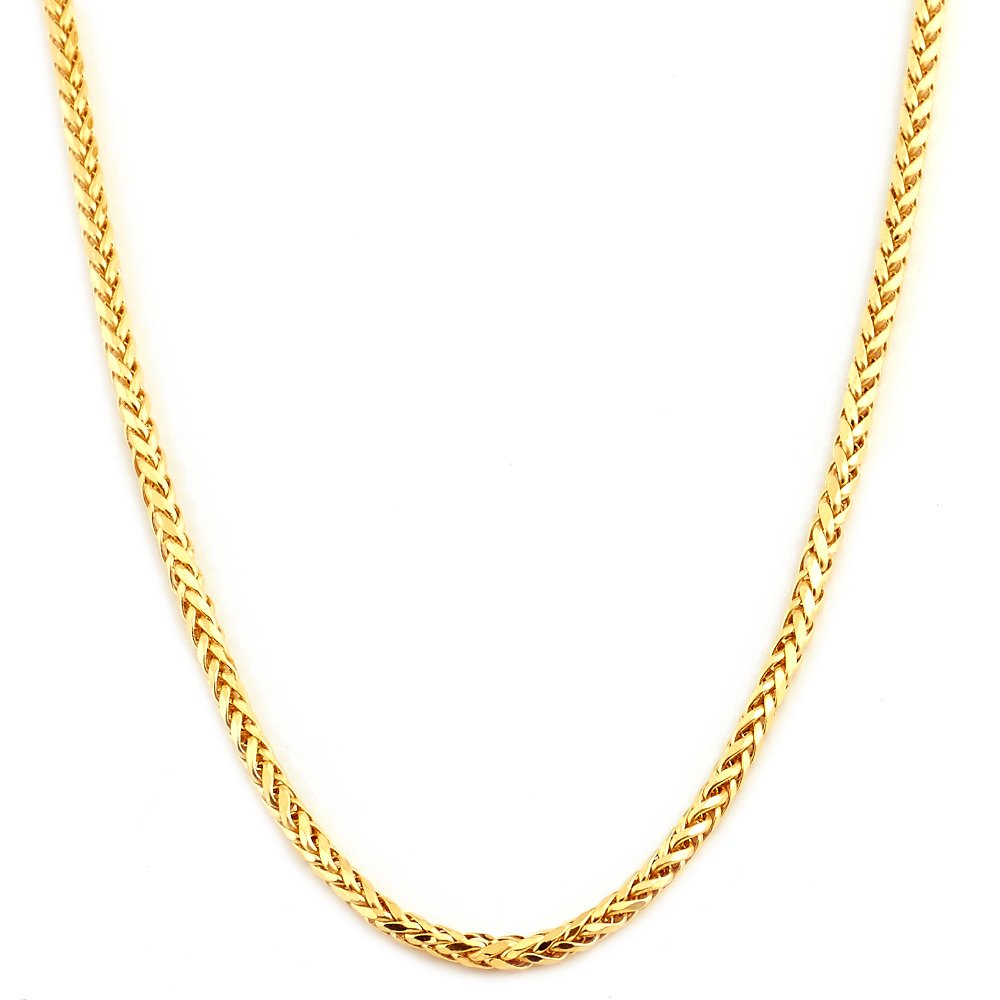 Mr. Bling 10K Yellow Gold 2.5mm 28'' Wheat, Palm Chain Necklace with Lobster Lock