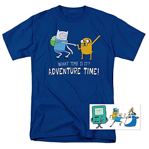 Adventure Time What Time is It Cartoon Network T Shirt & Exclusive Stickers (Adventure Time Shirt)