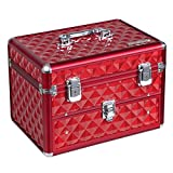 SONGMICS 24 Compartments Nail Polish (not included) Organizer Makeup Train Case with Mirror Portable Cosmetic Storage Holder with 1 Drawer Red UMUC18R
