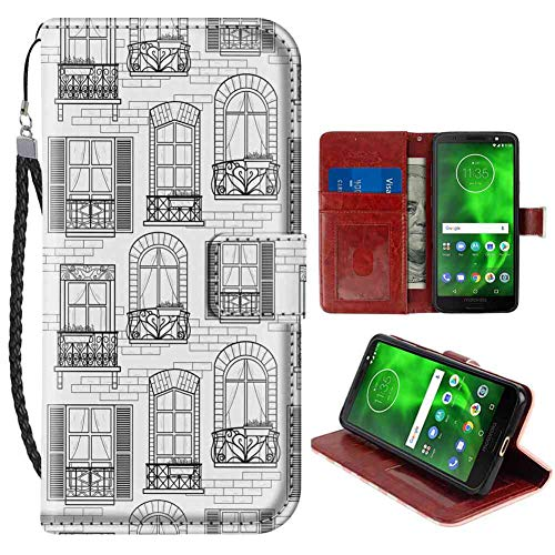 (Geometric Apartment Building Urban Architecture European Windows City Town Illustration Grey White Moto G6 Wallet Case (2018) 5.7inch with ID Slot Case )