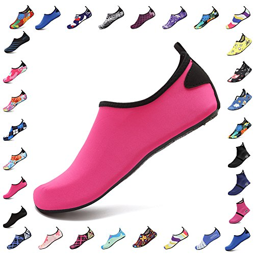 CIOR Men Women and Kids Water Shoes Barefoot Skin Shoes Anti-Slip For Beach Pool Surf Swim Exercise Sneaker,HT02Rose Red0142.43