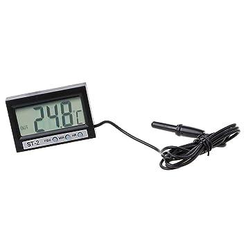 zrshygs Termómetro de casa In out LCD Termómetro Digital y Reloj Digital de Dos vías ST2: Amazon.es: Hogar