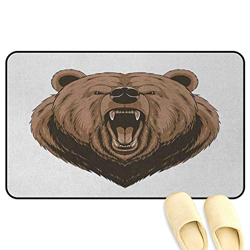 Bear Bathroom Mats Rubber Non Slip Angry Scary Face Powerful Vicious Beast Mascot Cartoon Character with Fangs Caramel Dark Brown Hard Floor Protection W16 x L24 - Cottage Commode