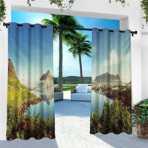 European, Outdoor Curtain Panel Design, Reine Creek in Norway in a Sunny Fall Day Tranquil Peaceful Vacation Image Print, for Patio W108 x L96 Inch Green - Rein Design