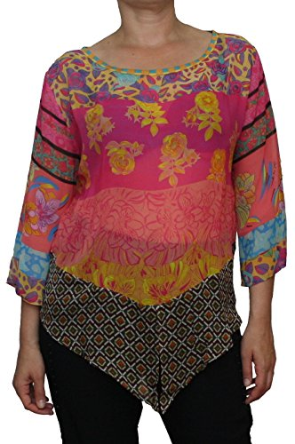 Save the Queen - Camisas - Floral - Cuello redondo - manga 3/4 - para mujer Multicolor