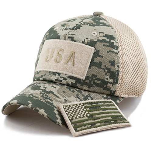 The Hat Depot Low Profile Tactical Operator with USA Flag Patch Buckle Cotton Cap (USA- Digi Camo) (Patch American Cool Flag)