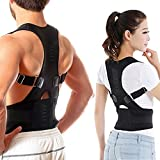 Aptoco Back Brace Adjustable Back Shoulder Support Brace for Posture Correction, Magnetic Therapy Upper Back Lumbar Support Size XXL