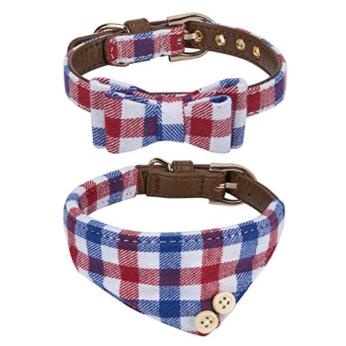 Blue Plaid Leather Dog Collar - StrawberryEC Puppy Collars for Small Dogs Adjustable Puppy Id Buckle Collar Leather. Cute Plaid Bandana Blue Dog Collar (Bow+Bandana-Blue)