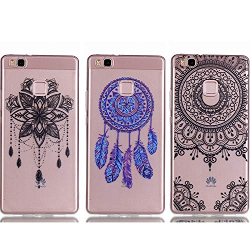 - Huawei P9 Lite Case - 3 Pcs Shock-Absorption TPU Rubber Skin Bumper Case Transparent Crystal Clear Cute Colorful Print Patterns Ultra Slim Protective Cover by AIIYG DS - Mandala