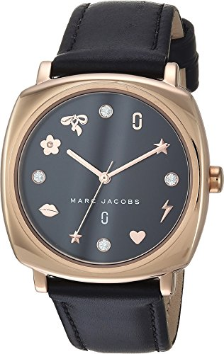 Marc Jacobs Women's 'Mandy' Quartz Stainless Steel and Leather Casual Watch, Color:Black (Model: MJ1565) (Women Black Jacobs Watches Marc)