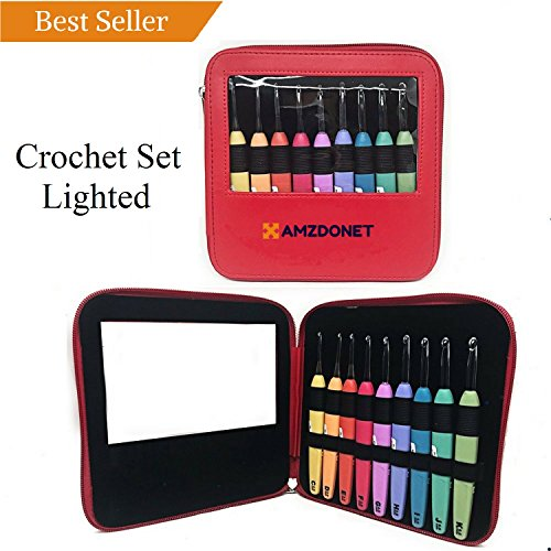 AMZDONET Crochet Set All-in-One, Crochet Set Lights, Crochet Kit Ergonomic, Crochet Set Ergonomic Handles, Crochet Hooks Rubber Handle, Crochet Hooks with Lights, Crochet Set with Case, Best Gift!