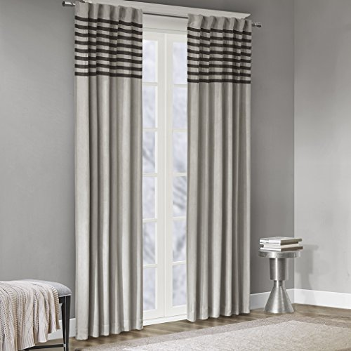 - Grey Curtains For Living room , Casual Rod Pocket Window Curtains For Bedroom , Dune Pieced Back Tab Fabric Window Curtains , 42X63