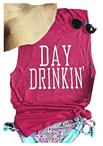 - Women's Day Drinkin' Casual Tank Funny Letters Print Vest T-Shirt (XL, Red)