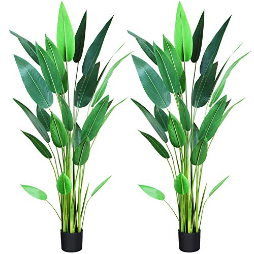 CROSOFMI Artificial Bird of Paradise Plant 5.2Feet,Fake Strelitzia with 25 Leaves Faux Strelitzia Nicolai in Pot for Indoor Outdoor House Home Office Modern Decoration Perfect Housewarming Gift-2Pack